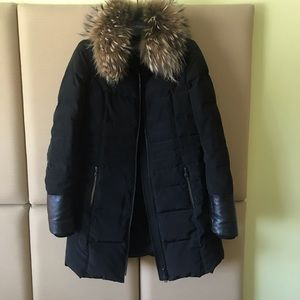 Danier Down Coat with Leather Cuffs and Fur